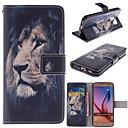 o caso suporte de couro do design do leão pu com slot para cartão para Samsung Galaxy S6