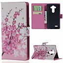 Plum Blossom Wallet PU Leather Case with Stand and Card Slots for LG Leon 4G LTE H340N