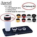 apexel 4 em 1 + 12x lente teleobjetiva lente olho de peixe branco + grande angular + macro lente da câmera com caso para samsung galaxy S6