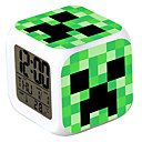 Minecraft 7 Color Change Digital Alarm Clock LED Thermometer Nigh Colorful Glowing Toys