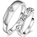 2Pcs Couples' Angel's Wings Statement Rings Silver Sterling-silver-jewelry