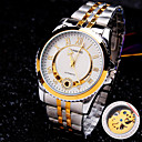 Buy Men's Round Rome Number Diamond Dial Mineral Glass Mirror Stainless Steel Band Fashion Mechanical Waterproof Watch