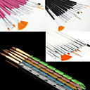 Buy 1Acrylic Nail Art Design Painting Drawing Pen Brush(3 Color Choose)with 5 Colors Sizes UV Gel Brush Set