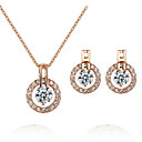Buy T&C Women's Elegant Bridal Jewelry 18k Rose Gold Plated Crystal Round Cz Diamond Earrings Necklace Set