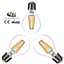 Lampes LED à Filament Gradable Blanc Chaud ONDENN 3 pièces A E26/E27 4 W 4 COB 400 LM AC 100-240/AC 110-130 V