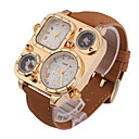 Men's Fashion Dual Time Zones Khaki Leather Strap Quartz Watch
