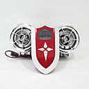 Silver Motorcycle Bluetooth Speaker FM MP3 Player 12v Handlebar Mount Audio System