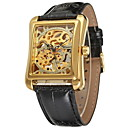 Män torg Gold Dial Black Leather Band Manuell Mekanisk Skelett armbandsur