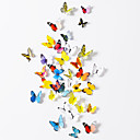 3d Stickers muraux stickers muraux, 19pcs papillons colorés muraux PVC autocollants