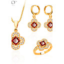 Buy Trendy Jewelry Set Women Party Gift 18K Gold Plated Zircon Crystal Necklace Earrings Ring Sets S20053