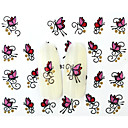 Buy 13D Water Transfer Pink/Red Butterfly Nail Art Sticker DIY Decoration Tools Tips BLE839D