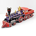 Buy Jigsaw Puzzles 3D Building Blocks DIY Toys Train Paper Purple / Red Model & Toy