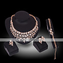 Buy Lucky Doll Diamond 18K Gold Plated Imitation Pearl Rhinestone Necklace & Earrings Bracelet Ring Party Jewelry Sets