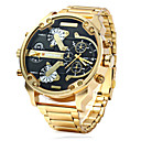 Men's Military Fashion Double Time Gold Steel Band Quartz Watch