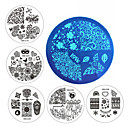 Buy Designs Nail Art Plate Stamp Stamping Set Round Stainless Steel DIY Polish Print Manicure Stencil Template