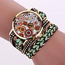 Buy Women's Quartz Analog White Case Weave Leather Band Bracelet Wrist Fashion Watch Jewelry Cool Watches Unique