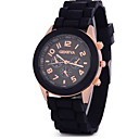 Buy Men's Women's Unisex Fashion Watch Quartz Chronograph Silicone Band Black White Blue Red Orange Brown Green Pink Purple Yellow Beige Rose