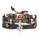Buy Punk Men's Bracelet PU Leather Music Note Charm Multilayer Men Fashion Jewelry Christmas Gifts