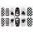 Buy Fashion Poker Style Glitter Silver Black Nail Decal Art Sticker Gel Polish Manicure