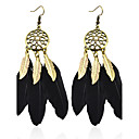 Buy Bohemian Drop Earrings Women Vintage Bronze Black Feather Earings Fashion Jewelry Long earring boucle d'oreille