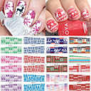 Buy 12 Christmas Styles Water Transfer Nail Art Stickers Full Cover Decals Snowflake DIY Decoration XMAS BN241-252