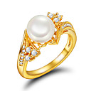 Buy Ring Engagement Pearl Imitation Gold Plated 18K gold Golden Jewelry Wedding Party Daily Casual 1pc