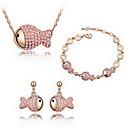 Buy Jewelry 1 Necklace Pair Earrings Bracelet Crystal Party Alloy 1set Women White Blue Pink Regency Multi Color Wedding Gifts