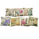 Buy Set 7 European style retro floral pattern Linen Cushion Cover Home Office Sofa Square Pillow Case Decorative Covers Pillowcases