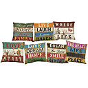 Buy Set 7 Retro English letters Linen Cushion Cover Home Office Sofa Square Pillow Case Decorative Covers Pillowcases
