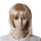 sin tapa de la moda rubia peluca de pelo ondulado recta
