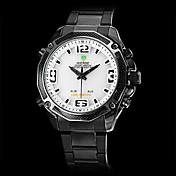 Hombre Reloj de Vestir Cuarzo Cuarzo Japonés LED Calendario Cronógrafo Resistente al Agua Dos Husos Horarios alarma Acero Inoxidable Banda