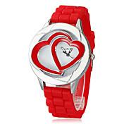 여성 크로노 그래프 석영 아날로그 두 배 심혼 다이얼 빨간 Silicons 밴드 손목 시계