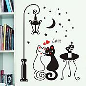 밤 가로등 애호가 고양이 패턴은 DIY 벽에 종이를 PVC