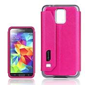 Para Funda Samsung Galaxy con Soporte / con Ventana / Flip Funda Cubierta Trasera Funda Un Color Cuero Sintético Samsung S5