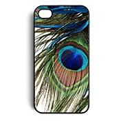 Patrón de la pluma del pavo real de plástico duro caso para iPhone 4/4S