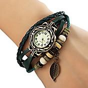 아가씨들 패션 시계 팔찌 시계 석영 PU 밴드 나뭇잎 보헤미안 블랙 레드 오렌지 브라운 그린