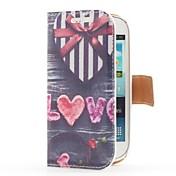 En forma de corazón caja del cuero de la caja de regalo del estilo con ranura para tarjetas y soporte para Samsung Galaxy S3 i8190 Mini