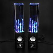 PC 랩탑 MP3 휴대폰용 USB LED 조명 댄싱 워터 Hi-Fi 스테레오 스피커 음악 (블랙)
