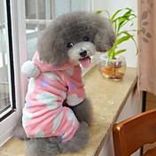 고양이 개 후드 파자마 브라운 핑크 강아지 의류 겨울 모든계절/가을 도트 무늬 귀여운 캐쥬얼/데일리