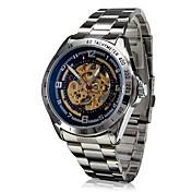 SHENHUA 남성 손목 시계 중공 판화 오토메틱 셀프-윈딩 스테인레스 스틸 밴드 실버