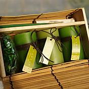 3PCS 녹색 실린더 아로마 테라피 촛불