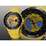 OHSEN 남성 스포츠 시계 LED 달력 크로노그래프 방수 석영 실리콘 밴드 블랙 화이트 블루 레드 노란색