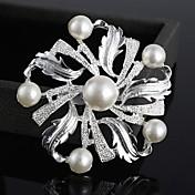 moda rhinestone de la perla de la flor broches de color al azar