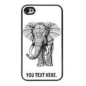 아이폰 4 / 4S를위한 개인화 된 경우 코끼리 디자인 금속 케이스