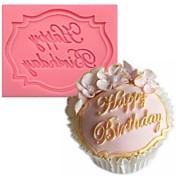 alles Gute zum Geburtstag förmigen Fondantkuchen Schokoladensilikonform, Kuchendekorationswerkzeuge, l7.3cm * w5.6cm * h0.7cm