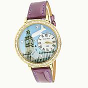 Mujer Reloj de Moda Simulado Diamante Reloj Cuarzo PU Banda Morado Fucsia Café Rojo Azul