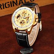 남성 드레스 시계 기계식 시계 크로노그래프 방수 오토메틱 셀프-윈딩 가죽 밴드 블랙 브라운