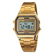SKMEI 남성 스포츠 시계 손목 시계 디지털 시계 LCD 달력 크로노그래프 방수 경보 스포츠 시계 디지털 스테인레스 스틸 밴드 실버 골드 로즈 골드