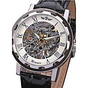 WINNER Hombre Reloj de Pulsera El reloj mecánico Cuerda Manual Huecograbado PU Banda De Lujo Negro Blanco Negro Azul