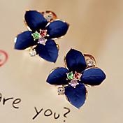 스터드 귀걸이 드랍 귀걸이 패션 펄 크리스탈 도금 골드 모조 다이아몬드 Flower Shape 화이트 무지개 보석류 용 파티 일상 캐쥬얼 2pcs